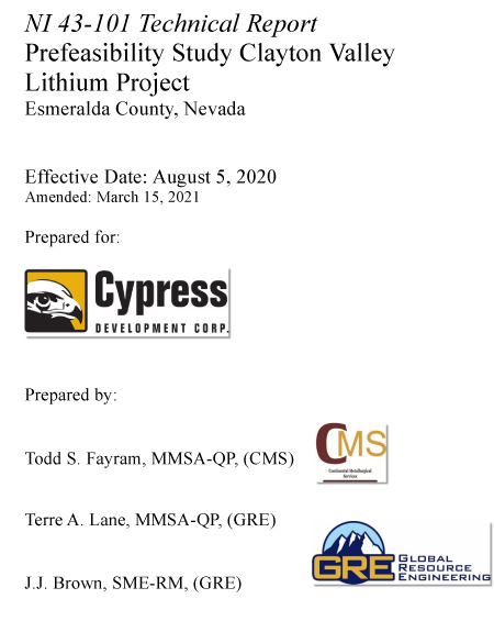 NI 43-101 Prefeasibility Study for Clayton Valley Lithium Project - August 2020