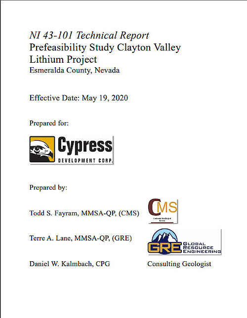 Prefeasibility Study for Clayton Valley Lithium Project, Nevada