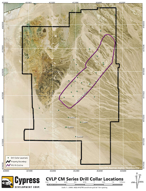 Clayton Valley Lithium Project, Nevada Prefeasibility Pit Outline Map