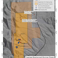 Cypress Gunman Zinc-Silver Project Staked Claims Map, Nevada