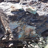 Outcropping Copper Oxide Mineralization at Gunman