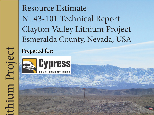 NI 43-101 Technical Report & Resource Estimate for Clayton Valley Lithium Project - June 2018